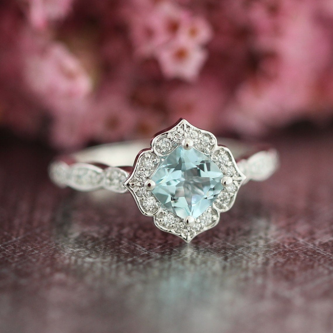 mini vintage floral aquamarine engagement ring in 14k white