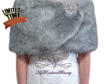 Faux Fur Wrap, Faux Fur stole, Grey Chinchilla Bridal Wrap, Fur Shawl, Fur Shrug, Bridal Cape, Bridal Stole, Faux Fox Wrap, FW108-GREYCHIN