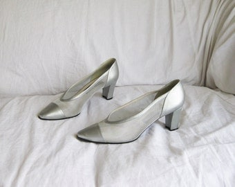 90s Silver and Mesh Pumps 8 39