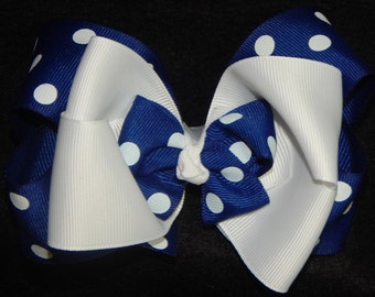 5 Inch Stacked Boutique Hair Bow, Polka Dot Hair Bow, Blue and White Hair Bow, Boutique Hair Bow, Stacked Hair Bow, Hair Bows, Big Bows