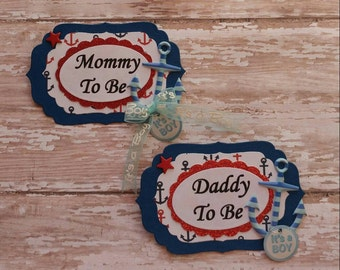 Set of Nautical Blue & White Mommy To Be and Daddy To Be Baby Shower Corsage Badge