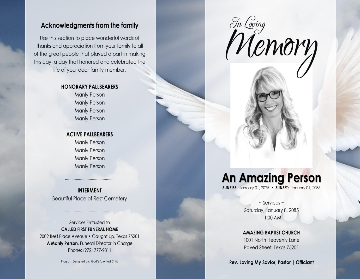 Free Printable Obituary Program Template Dance Studio Manager Il Fullxfull  Free Printable Obituary Program Templatehtml  Free Obituary Program Template
