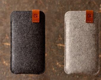 Nexus 6P case Google Pixel XL sleeve wallet cover dark grey/ light grey merino wool felt full grain tan leather