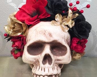 FLOWER CROWN Red Black and Gold Flower Headband Frida Kahlo Sugar Skull