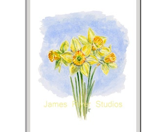 Daffodil Painting Daffodil Print Daffodil Art Daffodil Watercolor Daffodils Wall Decor Yellow Daffodils Daffodil Poster Daffodil Wall Art.