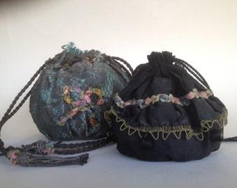 Three DRAWSTRING PURSES, bags, dance purses, clutch, writlets