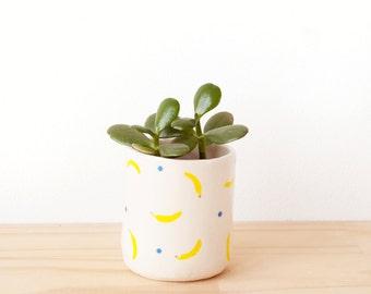 Hannah - Banana patterned porcelain planter and tea cup. Handmade homewares