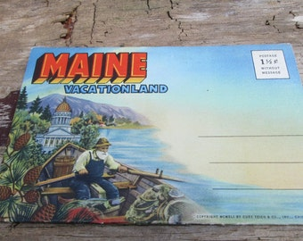 Vintage Maine Vacationland Postcard Book, Booklet Accordion  Folding, Acadia National Park