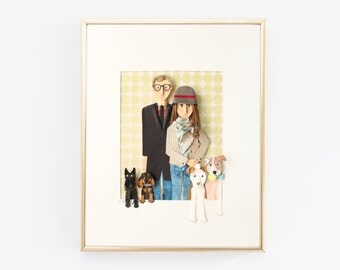 Custom Family Portrait made from Paper from Photo, Couple with Four Pets.