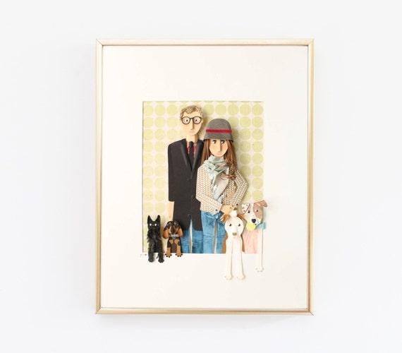portrait de famille personnalis fabriqu partir de papier. Black Bedroom Furniture Sets. Home Design Ideas