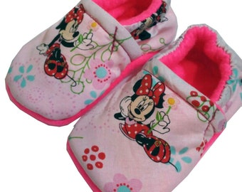Minnie Mouse Holiday Christmas Handmade Baby Girl's Boy's Shoes Slippers Booties Choose Size 0 - 24 M 3T-5T Baby Shower Gift