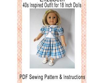 1940s Elizabeth Vintage Inspired Doll Clothing Sewing Clothing PDF Digital Download