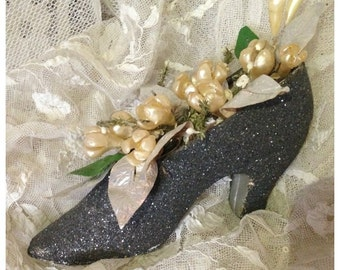 Delightful sweet antique collectible 1920s glittery shoe wedding cake decoration with wax flowers and metallic leafs