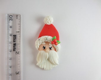 Lovely Santa. Clay Charm Bead, Scrapbooking, Bow Center, Pendant, Cupcake topper, Magnet