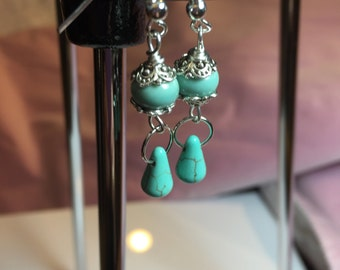 Dangly bead cap earrings with  Turquoise smooth lampwork spacer beads with hanging turquoise briolettes on sterling french earwires.