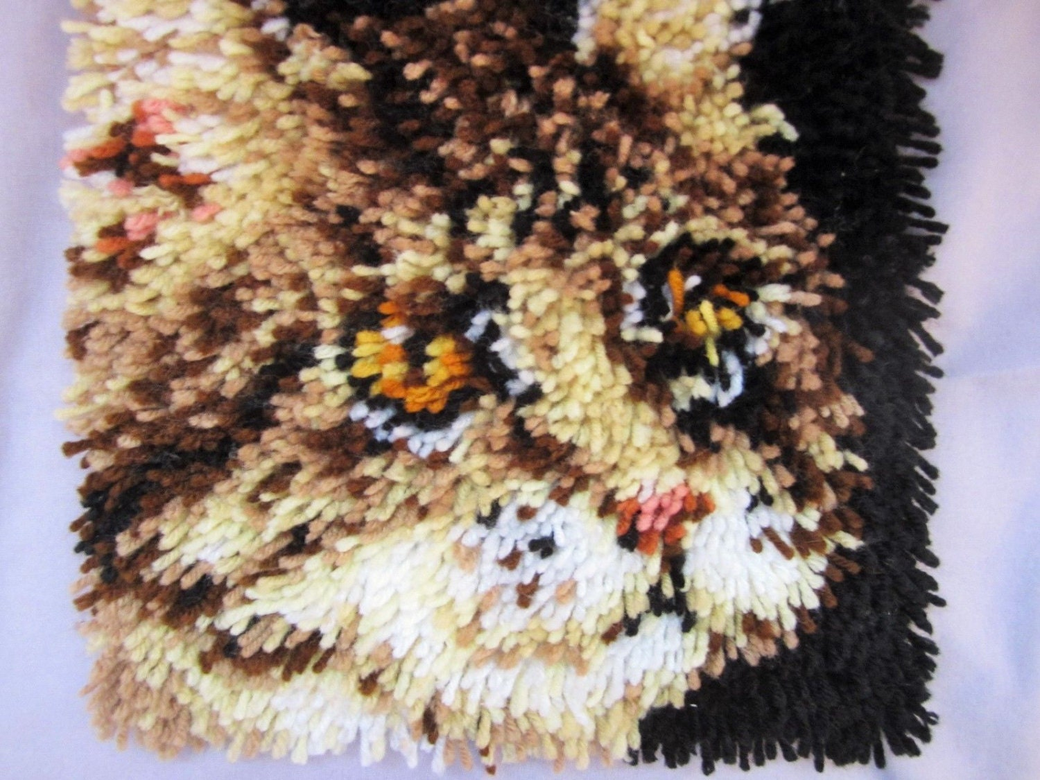 Tabby Cat Hooked Rug Cat Tapestry Tiger Kitty Latch Hook