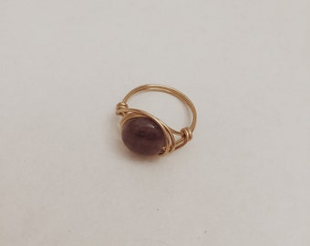 Amethyst Gold Wire Wrapped Ring