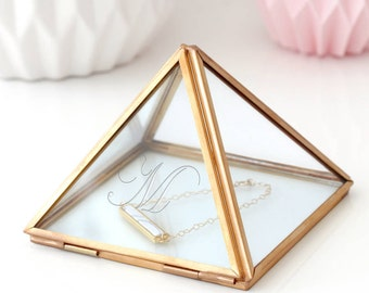 Glass Jewellery Box, Personalised Box, Geometric Box, Geometric Glass Box, Jewelry Box, Minimalist Box, Glass Pyramid Jewellery Box