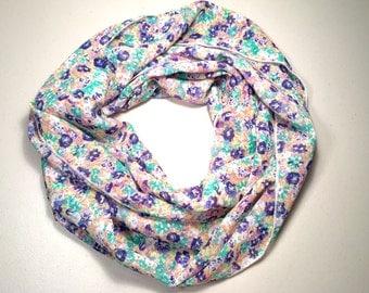 Spring, Summer Lightweight Infinity Scarf, Loop Scarf, Circle Scarf, Single Loop, Double Loop - Vintage Flower, Birthday