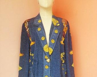 Vintage 80s Print Navy Blue Blazer