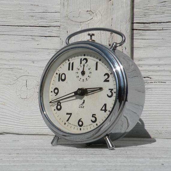 French vintage clocks, Jaz alarm clock, chrome clock, shabby chic clock, 1940s jaz clock, French clock, country home, French vintage