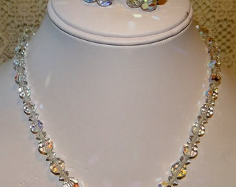 Necklace and Earring Set Aurora Borealis Faceted Crystals Vintage and Stunning