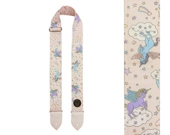Unicorn Guitar Strap - Vegan Leather - Made in Scotland - Sturdy Reinforced Ends - Mighty Beast