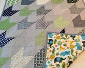 Custom Baby Quilt (cotton top, flannel back, name embroidery included)