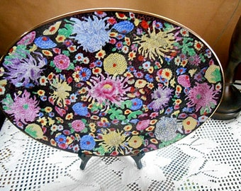 """Floral Chintz And Black Asian Hand Decorated Dinnerware Platter 14"""" Wide NEW Unused"""