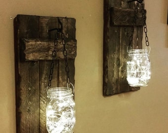 Rustic candle holders, Home Decor, hanging Mason jars, sconces, Lanterns, Cabin Decor, Mason Jars with lights,  Firefly lights,set of 2.