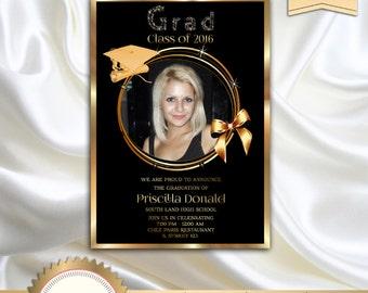 printable graduation invitation high school graduation invitation black and gold elegant invitation - High School Graduation Invitation