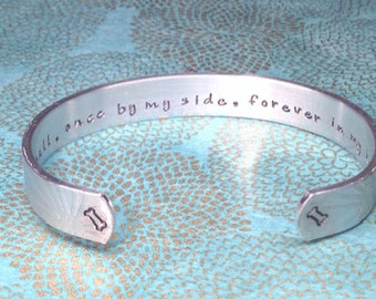 Pet Memorial Gift | Bereavement Gift | Sympathy Gift | (Name), Once by my side, forever in my heart. Hand Stamped by MadeByMishka.com