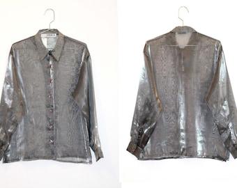 Transparent vintage silver blouse