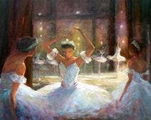 """Ballet Dancer, Dancer, Ballerina, Ballet, giclee print, art print, print,  by Barbara Applegate from oil painting """"What Happened?"""""""