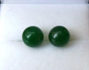 925 Sterling Silver 8mm Jade Stud Earrings.