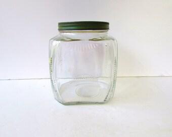 1 Vintage Clear Glass Jar - Green Metal Lid - Hoosier Jar -