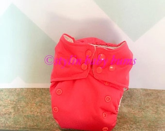 Pink solid all in one (AIO) cloth diaper- FREE SHIPPING
