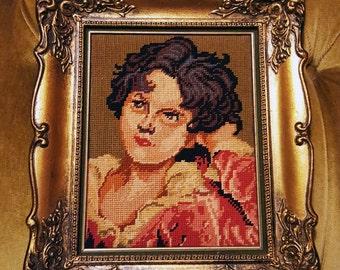 Shabby chic cross stitch boy in rococco ornate gold frame kitsch