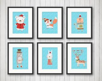Holiday Prints - Christmas Woodland Animal Printables - Christmas Artwork - Winter Decor - Xmas Wall Art - Instant Download - 6pc 8x10 Print