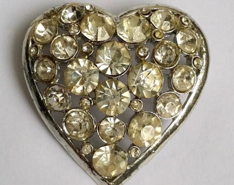 Vintage Silver Tone Clear Rhinestone Heart Pin Brooch