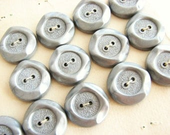 Silver Grey Buttons, Vintage Futuristic Buttons on cards from 1960s, unused!!