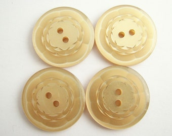 4 vintage buttons with carved flower, Cream moonglow buttons, large buttons in light beige colour, unused!!