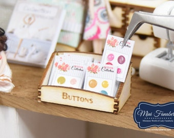 Counter Display BUTTONS storage box with 10 little sheets -  miniature handmade Dollhouse 1:12, sewing room, craft, decoration