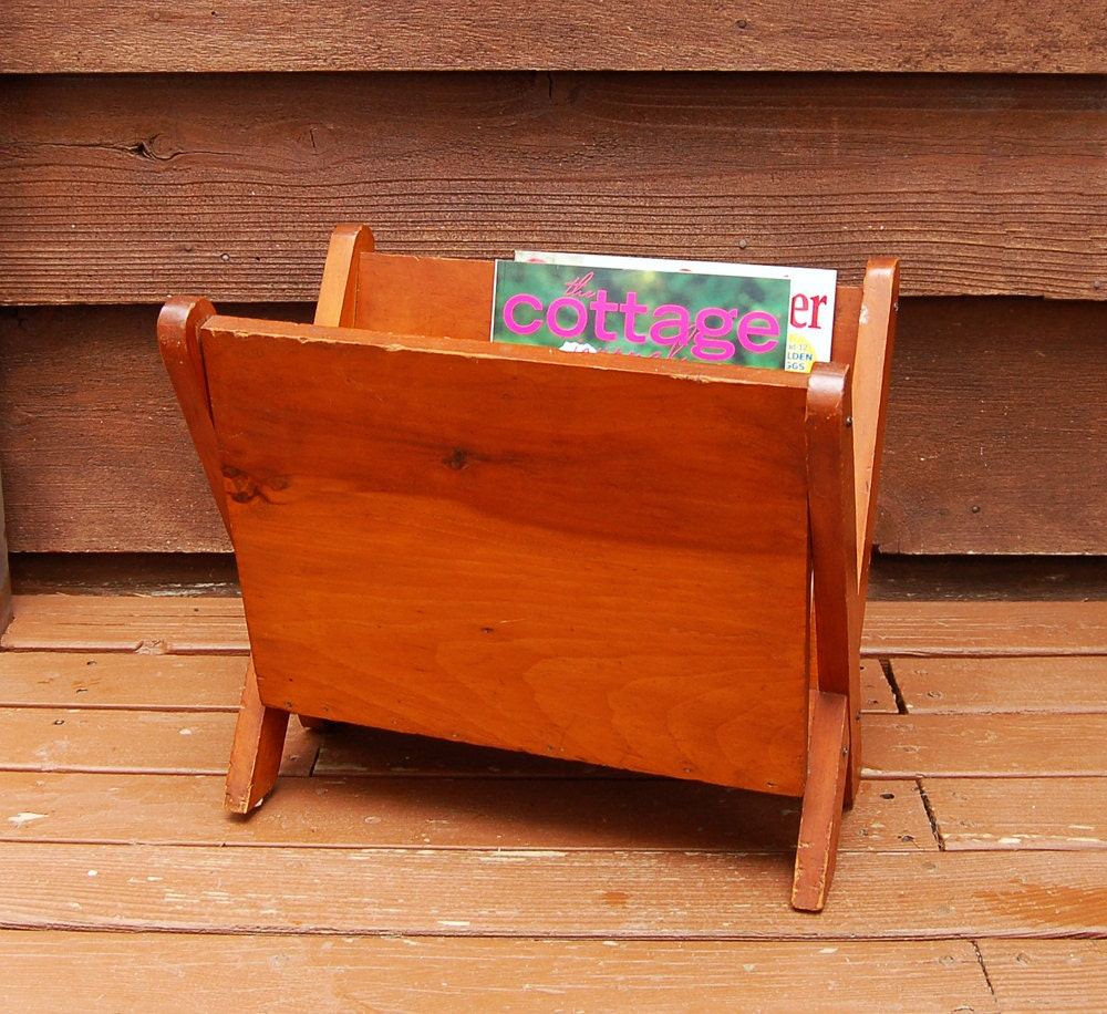 Wood Magazine Rack ~ Magazine rack vintage wooden newspaper holder wood
