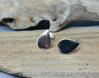 Sterling silver teardrop stud earrings