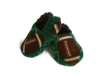 Baby shoes, football crib shoes, gender neutral baby slippers, lined soft sole baby shoes, boy pram shoes
