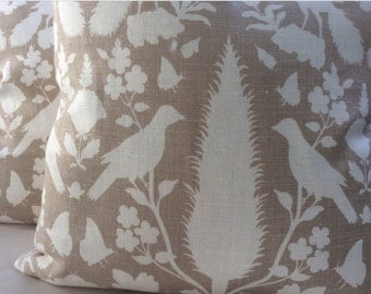 Schumacher Chenonceau Pillow Cover in Fawn Tan and Cream Linen, Cream Linen Backing, Choose Size