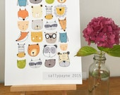 Animal faces illustration children's A4 print by Sally Payne