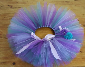 Purple Lilac Teal  Tutu with matching headband - Owl Tutu - First Birthday Outfit Photo Prop