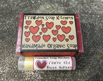 Cute Organic Soap and Beeswax with mauka honey Lip Balm Soap Set, lovers gift, bees knees, my heart belongs to you, aromatherapy choices